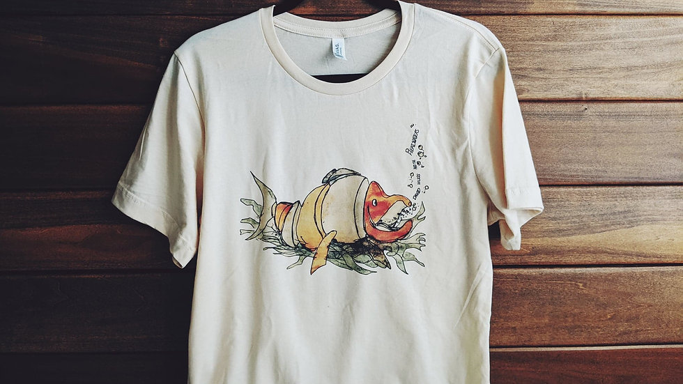 cream color t shirt - DH&HW - happy salmon water color cut