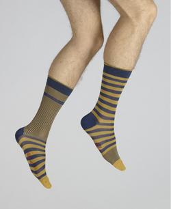 chaussettes rayées asymétriques bleu e