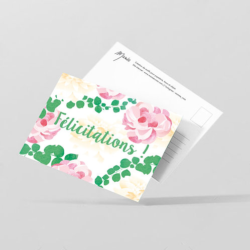 "Carte postale ""Félicitations"""