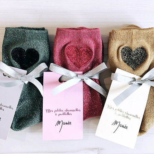 PACK de 3 paires de chaussettes à paillettes coeur brodé