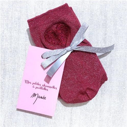 Chaussettes roses à paillettes coeur brodé