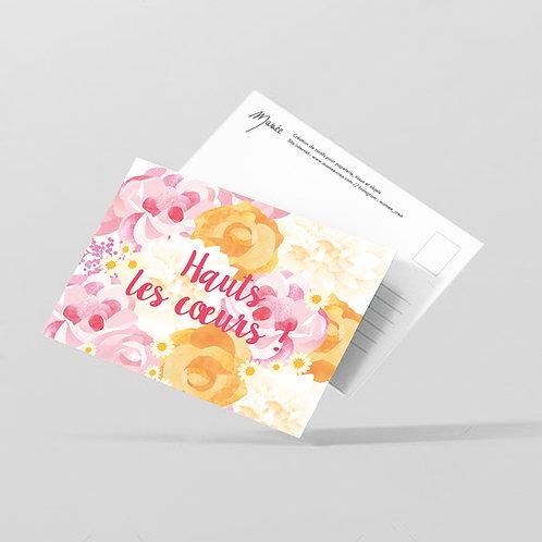 """Carte postale """"Haut les coeurs"""""""