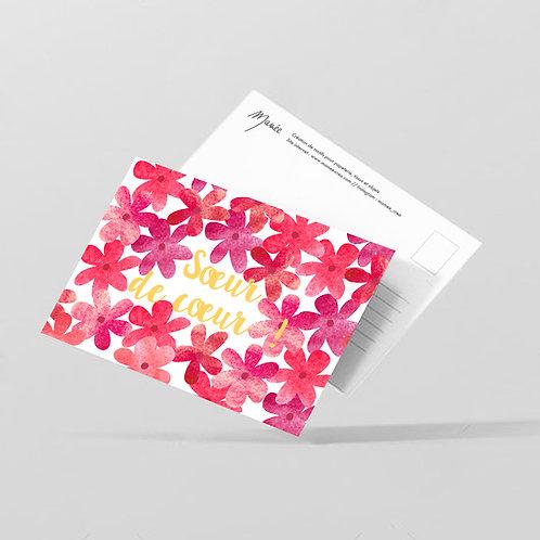 "Carte postale ""Soeur de coeur"""