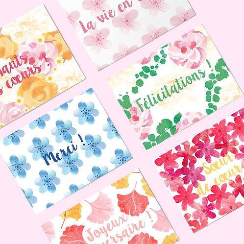 LOT de 6 cartes postales fleuries