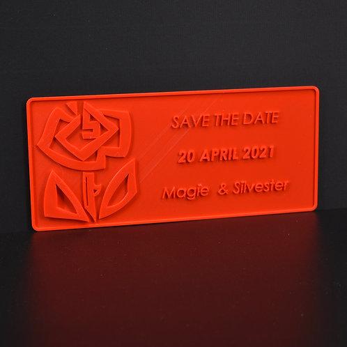 """Personaliseer jouw 3D-wenskaart: """"Roos"""" (21cm x 9cm) Magnetisch. (incl. BTW)."""