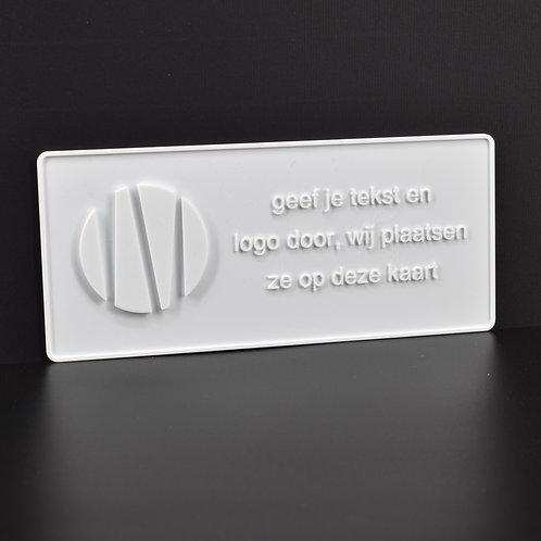 """Personaliseer jouw 3D-wenskaart """"logo"""" (21cm x 9cm) Magnetisch. (incl. BTW)"""