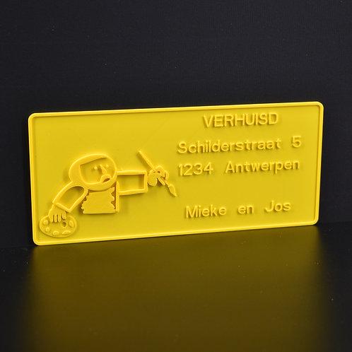 """Personaliseer jouw 3D-wenskaart  """"Schilder"""" (21cm x 9cm) Magnetisch. (incl. BTW)"""