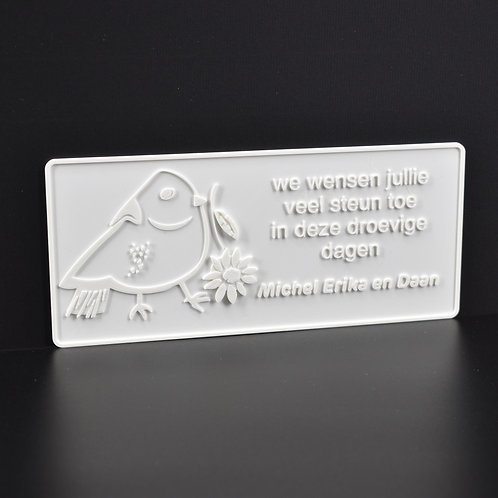 """Personaliseer jouw 3D-wenskaart  """"Duif"""" (21cm x 9cm) Magnetisch. (incl. BTW"""