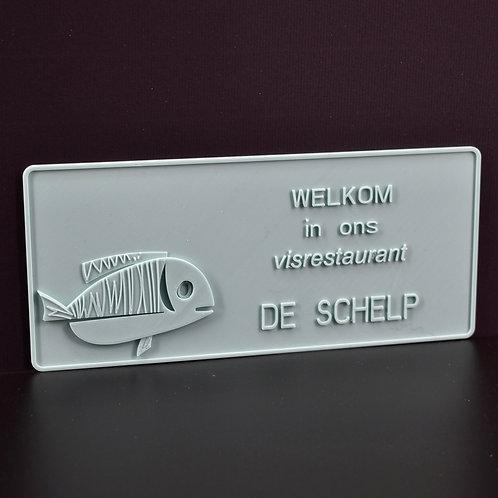 """Personaliseer jouw 3D-wenskaart """"vis"""" (21cm x 9cm) Magnetisch.  (incl. BTW)"""