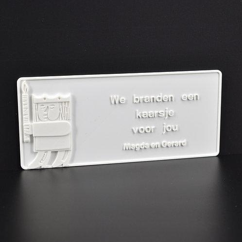"""Personaliseer jouw 3D-wenskaart """"Kaars"""" (21cm x 9cm) Magnetisch.  (incl. BTW)"""