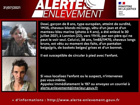 Côtes-d'Armor : Alerte enlèvement lancée un enfant de 8 ans disparu à Lannion
