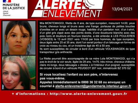 URGENT - Alerte enlèvement : une fillette de 8 ans enlevée par trois hommes dans les Vosges