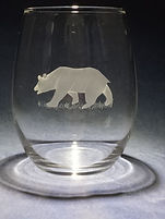 hand carved bear on glass