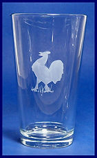 rooster nad chicken lovers hand etched glass