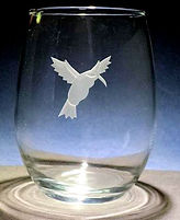 humming bird etched and carved on glass