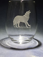 hand etched carved wolf