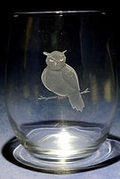 owl design etched on glass