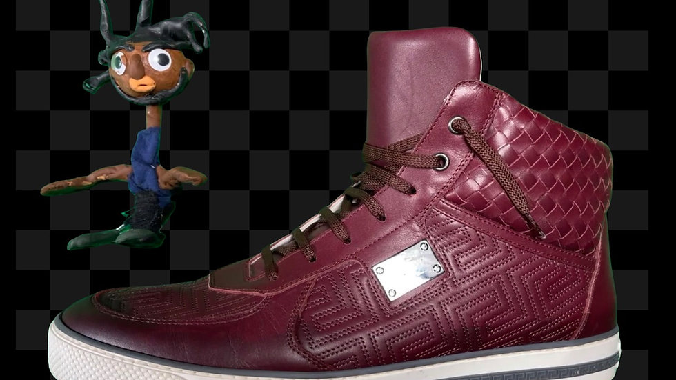 Versace Gianni Burgundy Leather High Top   Size 12