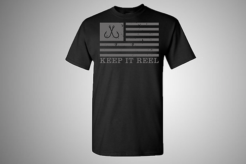 """Flag"" Short Sleeve Black & Grey"