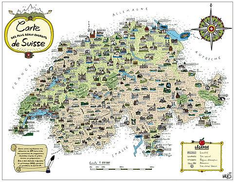 Carte des plus beaux endroits de Suisse - Format standard 44x33cm