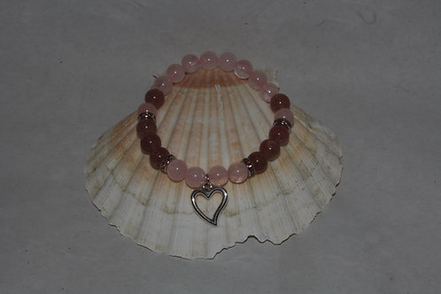 Bracelet Quartz rose et / Quartz Fraise