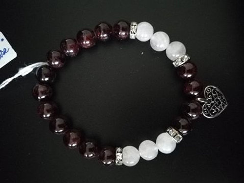 Bracelet Grenat quartz rose