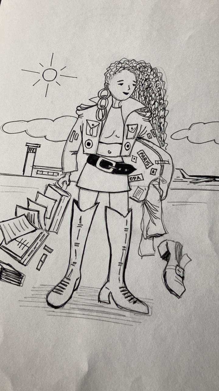 """Caricatura hecha por VIcente Mejía a los 23 años que regresé a Quito de París y sentía todas las ganas de """"saltar el charco"""" otra vez."""