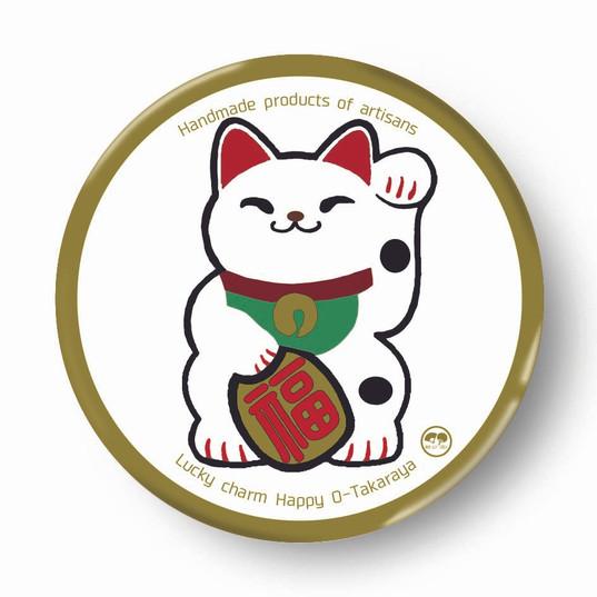 縁起物缶バッジ(招き猫)