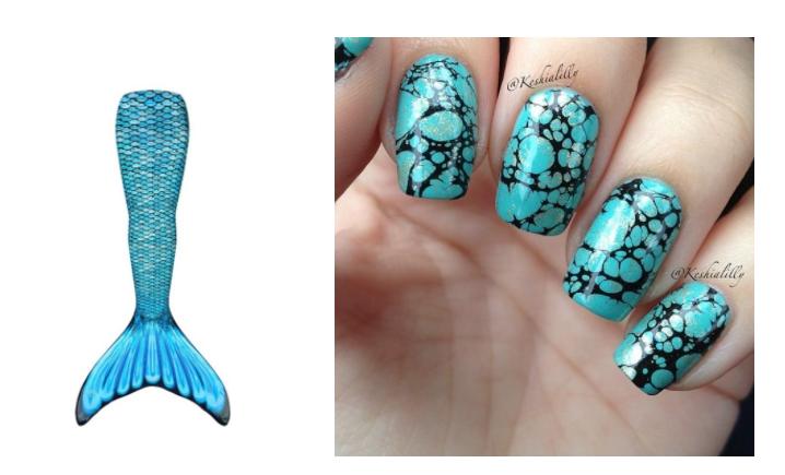 ongles queue de sirene bleu