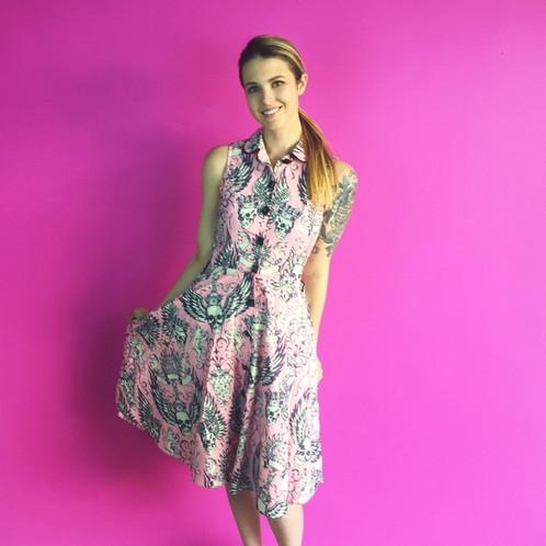 Retro Pink Skull Button Up Black Jewel Dress