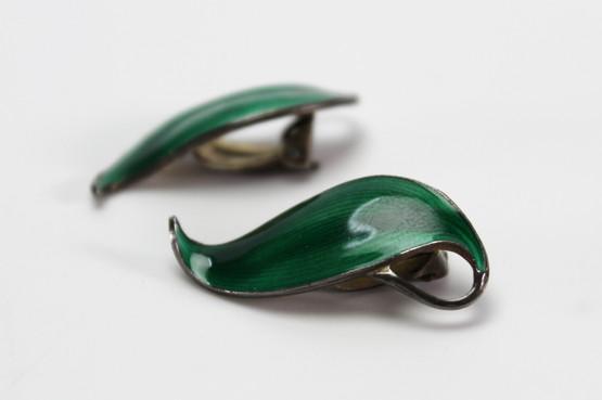 norwegian danish mid-century modern jewellery enamel green sterling silver finn jensen leaf brooch earrings clip set 1960s