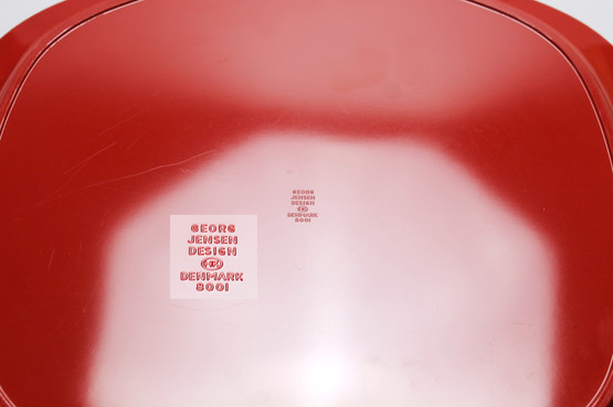 georg jensen henning koppel midcentury modern danish design red melamine plastic serving tray oval superellipse