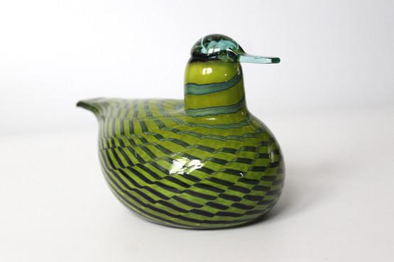 finland Iittala Green large glass Bird oiva Toikka Box nuutajärvi lasi finnish figurine handmade striped tavitar common teal