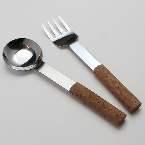 swedish design mid-century modern contemporary cork handles salad server set utencils stainless signe persson-melin boda nova