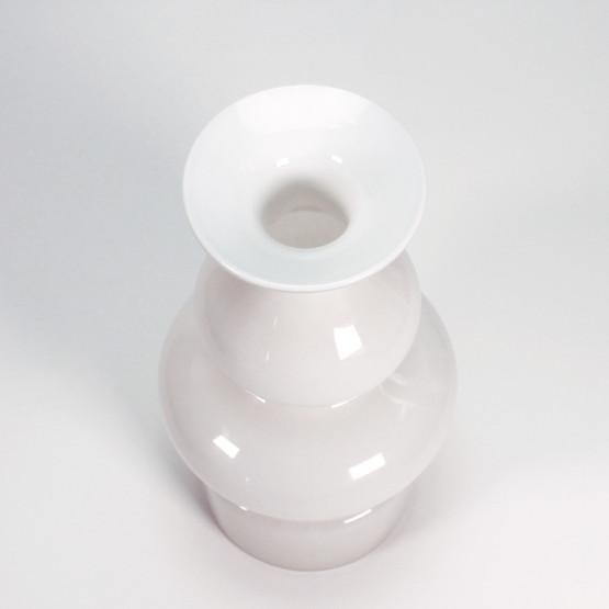 holmegaard flashed cased glass vase opaline white mid-century modern danish design lutken lütken funky 60s 70s groovy curvy