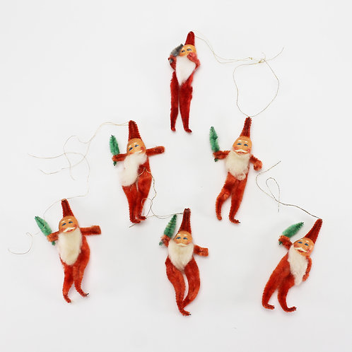 Antique 1930s Japanese Chenille Santa Christmas Ornaments w. String