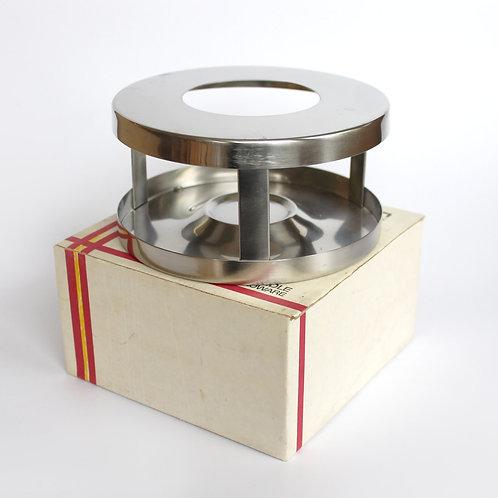 stelton tea light food warmer tealight stand arne jacobsen cylinda line stainless steel rechaud mid-century modern danish box
