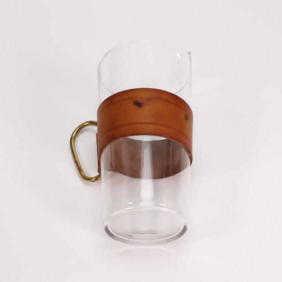 carl aubock auböck leather strap band glass jug with brass handle conical modernist barware pitcher austria design mcm modern