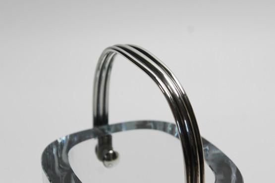 Olaf Gunnar Hjertzell Strömbergshyttan Ice Bucket Sterling Silver Handle Crystal Glass Ice Blue