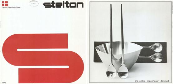 stelton vintage early rare salad servers set fork spoon teak stainless danish design 1960s wood original catalogue page 1972