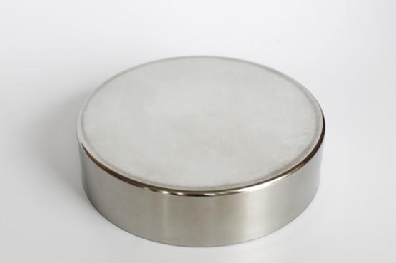 stelton flat circular lidded round ashtray cylinda line peter holmblad arne jacobsen stainless steel mid-century modern 518