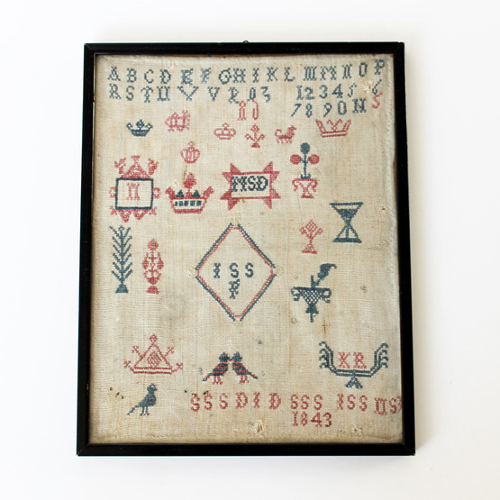 unique danish antique sampler red blue cross stitch lettering dated framed bird animal motif naive scandinavian folk art