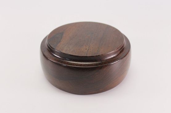vintage danish rosewood jar copper enamel decoration dark wood tobacco keepsake trinket storage mid-century modern design