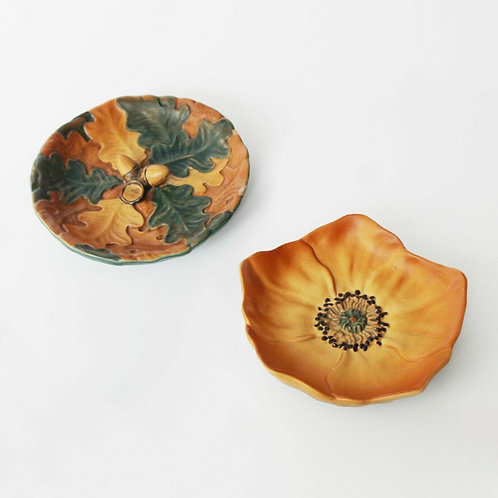 danish terracotta pin trinket dish p ipsens enke oak leaves acorn poppy flower art nouveau
