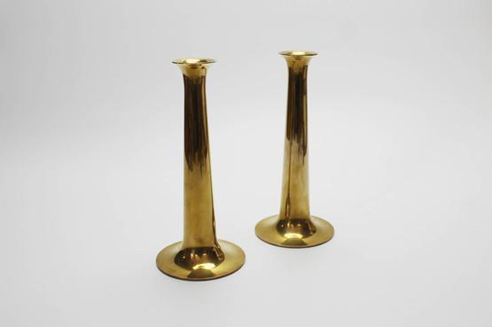danish modern design mid-century hans bolling bølling torben orskov ørskov brass candleholders candlestick trumpet fanfare