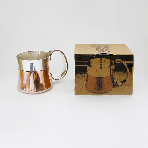 georg jensen taverna mug tankard copper silverplated beer henning koppel danish midcentury modern design in original box