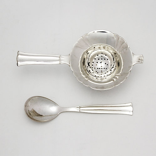 danish silverplated tea strainer stand holder regent victoria tea caddy spoon jam sugar set fluted scalloped mid-century mcm