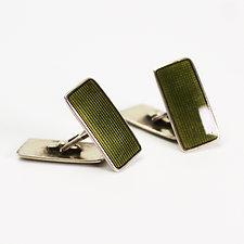 Norwegian Mid-Century Sterling Silver Cufflinks w. Green Enamel by Aksel Holmsen