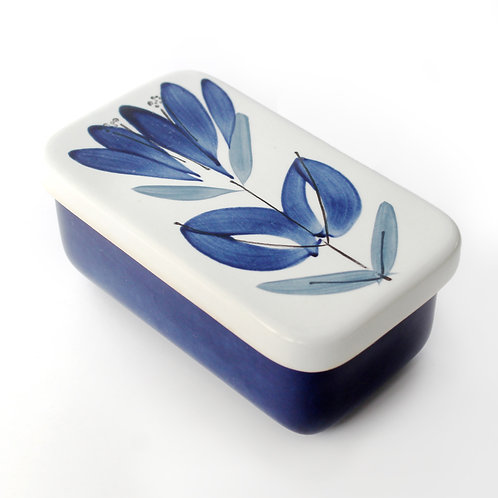 rorstrand rörstrand ceramic sweden swedish design butter dish primula blue flower floral handpainted box lid