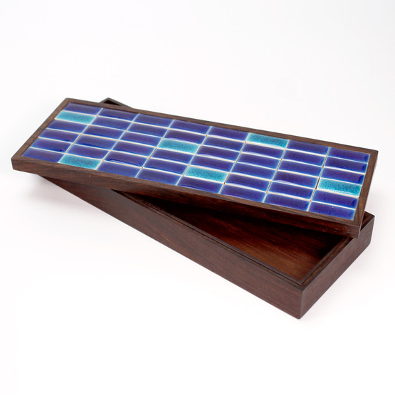 finn l rosewood palisander desk tidy table box cigarette ceramic tile blue danish design midcentury modern mad men keepsake